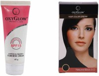 Oxyglow Saffron & Liquorice Fairness Cream & Hair Colour Cream-Black (Set Of 2)