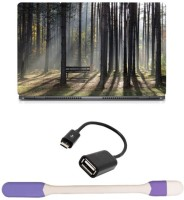 Skin Yard Sun Rays In Forest Laptop Skin -14.1 Inch With USB LED Light & OTG Cable (Assorted) Combo Set
