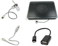 De TechInn 4 In 1 Usb Powered Metal Body Cooling Pad, Usb Flexible Wire Fan & 3 Led Light Lamp And Micro Usb Otg Cable Combo Set