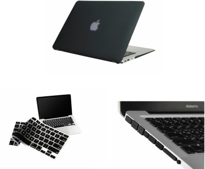Pindia Apple Black Matte Finish Apple Macbook Air 11 11.6 inch Md224Hn/A? & Md224Ll/A? Hard Case Shell Cover Anti Dust Ports & Keyboard Combo Set