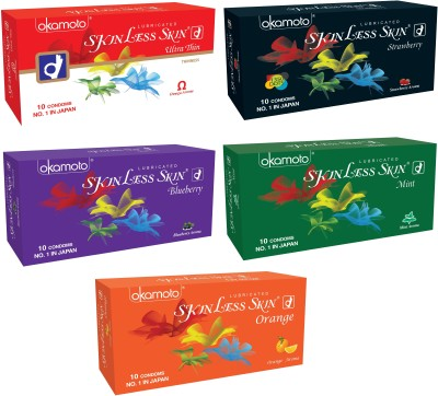 Okamoto Skinless Skin Ultra Thin, Strawberry 1350 Dots, Blueberry, Mint and Orange