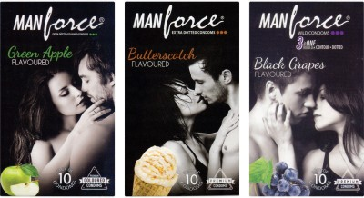 Manforce Green Apple, Butterscotch, BlackGrape