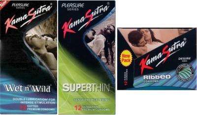 Kamasutra Wet n Wild, Ribbed, Superthin