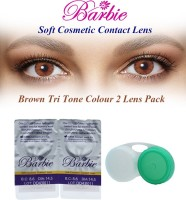 Barbie Tri Tone Zero Power With Case By Visions India Monthly Contact Lens (Brown-0.00, Brown, Pack Of 2)