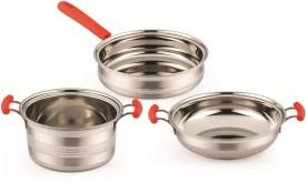 Mahavir Induction Base Stainless Steel With Orange Handle Cookware Set