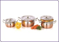 Mahavir 3pc Stainless Steel Fruit & Nuts Design Copper Cook & Serve 3 - Piece Cookware Set