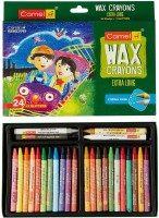 Camlin Kids Round Shaped Wax Washable Crayons (Set Of 24, Multi Colour)