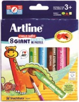 Artline Giant Water Soluable Oil Pastels Round Shaped Plastic Washable Crayons (Set Of 1, Multicolor)