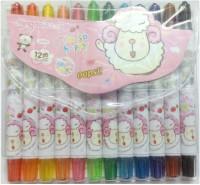 Mingda Round Shaped Plastic Crayons (Set Of 1, Pink)