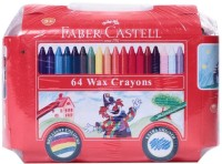 Faber Castell Triangular Shaped Wax Crayons (Set Of 64, Multicolor)