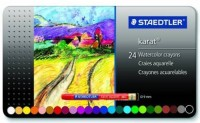 Staedtler Premium Round Shaped Watercolor Pastel Crayons (Set Of 24, Water)