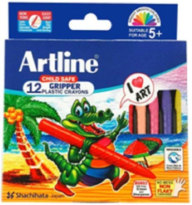 Artline Child Safe Gripped_12 Round Shaped Plastic Washable Crayons (Set Of 2, Multicolor)