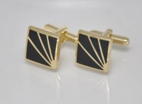 Big Five Deals Designer Brass Cufflinks - Black, Gold