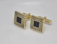 Big Five Deals Square Brass Cufflinks - Black, Gold - CTPDPZX2GGDZQQVH