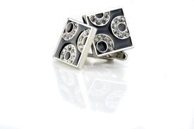 Speak Royal Designer With Crystals Studded Brass Cufflink (Black)