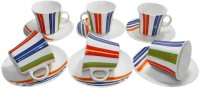Classique Bone China Octagon Cup Saucer Set (Multicolor, Pack Of 12)