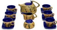 Caffeine Handmade Marble Matte Style Leaf Print Kettle Mustard/Blue Tea Set (Beige, Blue, Pack Of 15)
