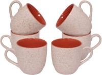 Elite Handicrafts White N Maroon Dual Color Ceramic Tea Cups Set Of 6 Ehcc127 (White, Brown, Pack Of 6)