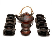 Caffeine Handmade Exclusive Metallic Kettle Mettalic Tea Set (Brown, Pack Of 15)