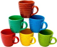 Elite Handicrafts Set Of 6 Multicolor Spiral Design Ceramic Tea Cups - Best For Self Use; And Diwali, Dhanteras & Festive Gifts EHCC0179 (Multicolor, Pack Of 6)