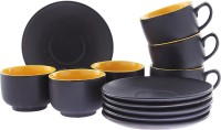 Tibros Yellow Ceramic Cups Saucers 12 Pcs 2147T (Yellow, Pack Of 12)