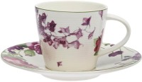 HomeStop Dolce Cup & Saucer S15851QLTDOLCPS (White, Purple, Pack Of 2)