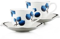 Arttdinox Blueberry Large Cup&Saucer Set Of 2 SSSC-6231-L (Blue, White, Pack Of 4)