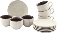 Tibros White Sparkle Ceramic Cups Saucers 12 Pcs 2111T (White, Pack Of 12)