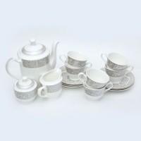 BHARAt Tableware Tea Set - Microwave Series Mugal VTEASET001 (White, Pack Of 15)