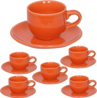 Elite Handicrafts Stoneware_Cups_Saucers_Set EHCC0199 (Orange, Pack Of 12)