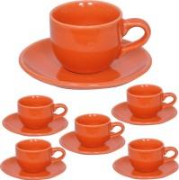 Elite Handicrafts Stoneware_Cups_Saucers_Set EHCC0199 (Orange, Pack Of 12)
