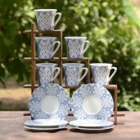 Unravel India Bone China White And Blue Cup Saucer (Set Of 6) HWCR0139 (White, Blue, Pack Of 12)