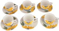 LUCINA LUCINA Tea Cup And Saucer Bone China -Set Of 12 14 (Multicolor, Pack Of 12)