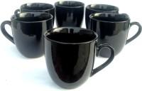 Buyer's Beach Ever-Green Elegant Black S Set Of-6 Ceramic Cup (Black, Pack Of 6)