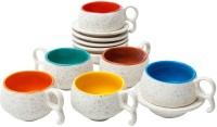 Elite Handicrafts Marble Finish Duotone Tea Cups & Saucers EHCC0170 (White, Multicolor, Pack Of 12)