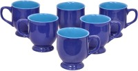 Elite Handicrafts Royal Blue Glossy Tea Cups Set Of 6 Ehcc104 (Blue, Pack Of 6)