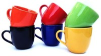 Toygully Colorful Tea Cups Set 6 (Multicolor, Pack Of 6)