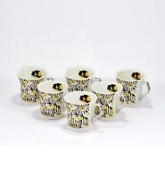 Cdi Bone China Tea Coffee Mugs With Printed Fritillaria (White, Pack Of 6)