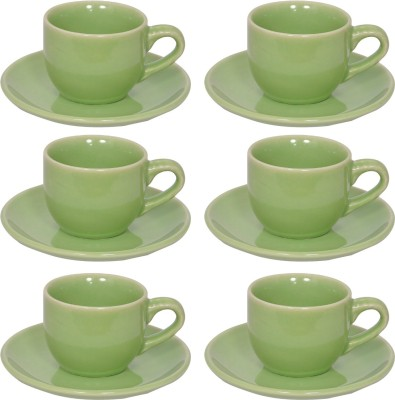 Elite Handicrafts Stoneware_Cups_Saucers_Set EHCC0198 (Green, Pack Of 12)