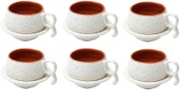 Elite Handicrafts Marble Finish Duotone Tea Cups & Saucers EHCC0168 (White, Maroon, Pack Of 12)