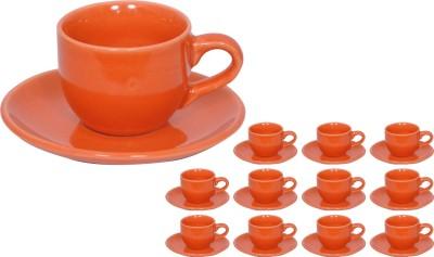 Elite Handicrafts Stoneware_Cups_Saucers_Set EHCC0206 (Orange, Pack Of 24)