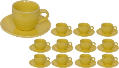 Elite Handicrafts Stoneware_Cups_Saucers_Set EHCC0202 (Green, Pack Of 24)