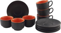 Tibros Black Ceramic Cups Saucers 12 Pcs 2181T (Black, Pack Of 12)