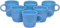 Elite Handicrafts Blue Marble Finish Tea Cups Set Of 6 Ehcc110 (Blue, Pack Of 6)