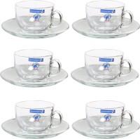 Luminarc Royal Tea Set Crystal Cup Saucer Set (Clear, Pack Of 6)