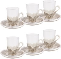 Craftghar Elegant Silver & Glass 6-piece Tea Cup & Saucer Set (Silver, Clear, Pack Of 12)