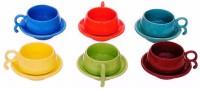 Buyer's Beach Heart Of Ocean Cups & Saucer Set Of 6 (Multicolor)