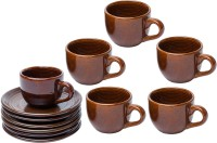 Elite Handicrafts Glossy Tea Cups & Saucers EHCC0181 (Brown, Pack Of 12)