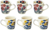 Elite Handicrafts Floral Print Set Of 6 Fancy Ceramic Tea Mugs - Best For Self Use; And Diwali, Dhanteras & Festive Gifts EHCC0177 (White, Pack Of 6)