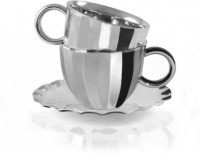 Arttdinox Dome Cup&Saucer SSSC-6131 (Steel, Pack Of 3)